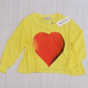 Wildfox NWT Vintage Heart Acid Yellow Sweatshirt S
